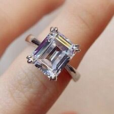5Ct Emerald Cut White Diamond Solitaire Engagement Ring 925 Sterling Silver Ring