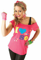 Ladies Pink I Love The 80's Sexy Retro Pop Star T-Shirt Top Fancy Dress Costume