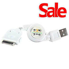 USB Retractable Sync Charger Charging Cable Lead iPhone 4S 4 3GS iPad iPod White