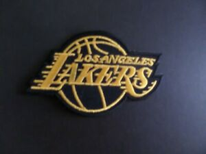 """LOS ANGELES LAKERS"""" BLACK & GOLD EMBROIDERED IRON ON PATCHES 2-1/4 X 4"""