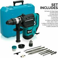 Hiltex 10513 1-1/2 Inch Sds Rotary Hammer Drill Includes Demolition Bits, Flat