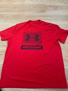 XL Mens Under Armour AMSTERDAM Heatgear Loose Fit Running Gym T-Shirt Top in Red