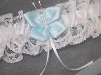 PLUS SIZE Blue Butterfly Design Wedding Garter ~ Handmade in UK XL