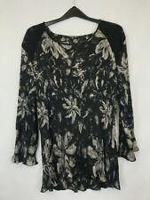 Gerry Weber ladies top flared long sleeve floral black polyester size 16 003