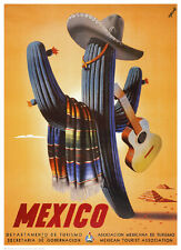 VINTAGE MEXICAN ART PRINT - Senor Cactus MEXICO 25x18 Travel Poster Guitar