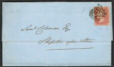 1858 Cover London-Shipston 1d Star SG36 Pl 59 HG Scarce PERF 16  Cat.£140.00
