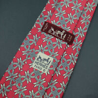 Hermes Paris Made In France Red Horse Shoe Pattern Silk Tie 646 TA