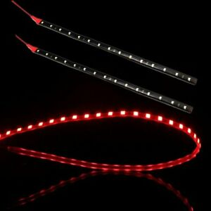 2PCS 60cm 2Ft  RED 30 SMD Led Lamp String Waterproof Flexible Car Strip Light