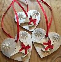 3 X Reindeer Christmas Decorations Shabby Chic Wood Heart Silver Red Cream
