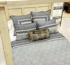 Pottery Barn Nori Quilt Set Black Gray Ivory King 2 Euro Shams Scarf Bohemian