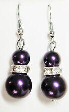 Deep Purple Double Faux Pearl (6mm &12mm) & Crystal Silver Tone Drop Earrings