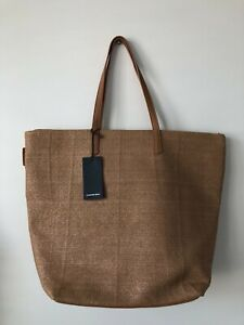 Country Road Zip Top Tote Natural Bag Brand New