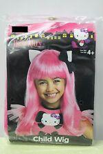PINK HELLO KITTY GIRLS WIG Child Dressup Halloween Hair Black Bow Bob Cute NEW