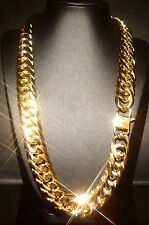 """24"""" SOLID 14K YELLOW GOLD FINSH STAINLESS STEEL 18MM CUBAN LINK CHAIN NECKLACE"""