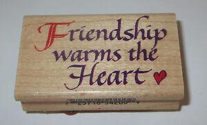 "Friendship Warms the Heart Rubber Stamp Inkadinkado Friends 2.5"" Long Wood Mtd"