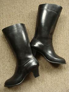 NOKIA VINTAGE 80's BLACK RUBBER HANDMADE HEELED RAIN BOOTS WOMEN'S  37EU 4UK 6US