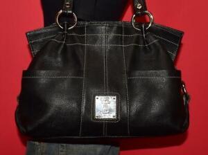 TIGNANELLO Black Pebbled Leather Shoulder Shopper Carryall Purse Tote Bag