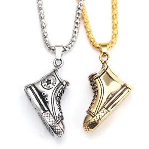 Fashion Sport Boot Retro Gold Silver Men Boy Hip Hop Rap Pendant Chain Necklace