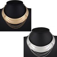 Women Fashion Punk Metal Charm Choker Chunky Statement Bib Chain Necklace Collar
