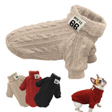 Dog Knitted Jumper Knitwear Chihuahua Clothes Warm Pet Puppy Sweater Red Black