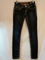 Junior's Hydraulic Bailey Super Skinny Jeans Bling Flap Pockets Low Rise Size 0