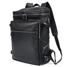 Men's Real Bull Leather Black Backpack Laptop Camping Hiking Travel Bag Carry On