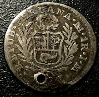 1827 JM Peru Lima Mint Silver 1 Real Rare Coin KM# 145