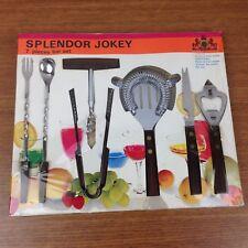 Vintage Dead Stock Jokey 7 Piece Bar Set Rosewood Handle Stainles Japan MCM 1a-6