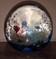 Italian Murano Art Glass Fish Aquarium Signed Elio Raffaelli  Sculpture