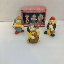 Collectible Ceramic Bisque Freeky Circus 3 Clown Figurines playing instruments