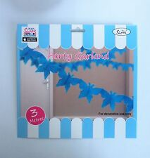 BLUE BUTTERFLY GARLAND PAPER PARTY HANGING DECORATION BIRTHDAY FAIRY BABY SHOWER