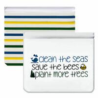 Reusable 2-Piece Large Sandwich Quart Freezer Bags- Clean Seas, Save Bees, Trees
