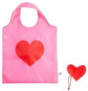 Foldable Reusable Shopping Bag Tote Heart Love Gift Eco Grocery Sass Belle UK