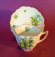 Victoria C&E Teacup & Saucer - Lily Of Valley &  Blue Forget Me Nots - England
