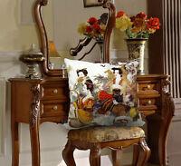 Elegant Decorative Velvet Pillow Cover Beauty Girl double sides Asian Lady