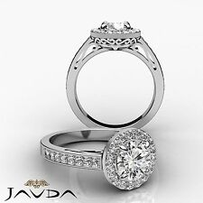 Flashy Round Cut Diamond Pave Engagement Ring GIA I VS2 14k White Gold 1.8 ct