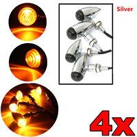4X Universal Motorcycle Chrome/Silver Smoke Bullet Amber LED Turn Signal Harley