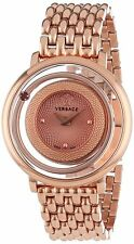 """Versace Women's VFH050013 """"Venus"""" Rose Gold Ion-Plated Topaz stone Watch"""