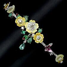 Emerald, Chrome Diopside, Mother of Pearl & Cz 925 Silver Enamel Flower Bracelet