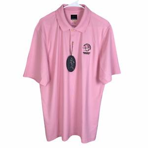 NEW Greg Norman Play Dry Polo Golf Shirt Large Pink S/S WGC Bridgestone