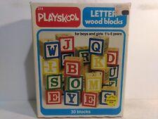 Playskool 30 Letter Wood Blocks Handy Storage Box 1978 Board Game #214 gm565