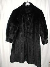 superbe manteau vintage lucien daville  fausse fourrure noire