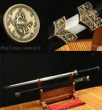 42' DAMASCUS FOLDED STEEL BLADE FULL TANG  SAYA  CHINESE HAN 汉剑 SWORD