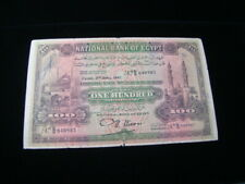 Egypt 1945 100 Pounds Banknote Rare Fine P#17d