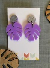 Statement Monstera Dangle Earrings, Lilac Purple Acrylic, Glitter, Surgical Stud