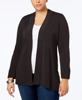 Karen Scott Plus Size Open-Front Cardigan in Espresso Brown, Size 0X, $54.50