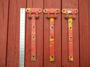 3 Old Heavy-Duty Metal Hinges/Straps
