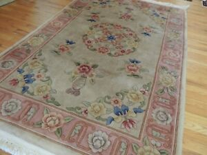 4x6 Chinese Art Deco semi-antique Oriental Area Rug beige pink blue green