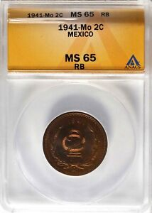 MEXICO ESTADOS UNIDOS 1941 2 CENTAVOS COIN ANACS CERTIFIED GEM UNCIRCULATED MS65