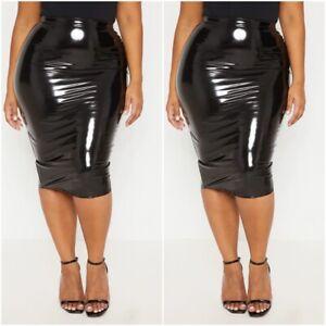 Plus Size Ladies PU Vinyl Bodycon Midi Skirt Night Out Party Womens Pencil Skirt